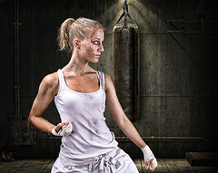 Young woman training for self defense